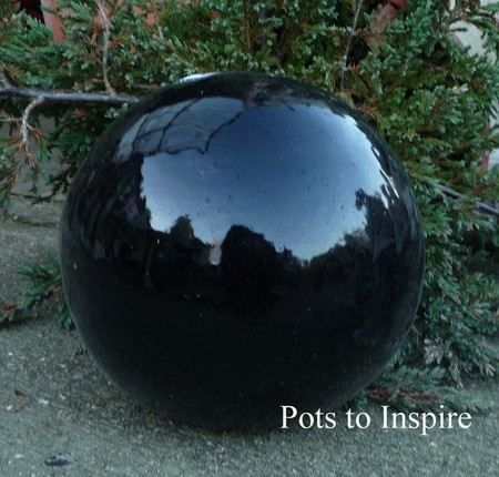 Black Glazed Sphere Ball Garden Ornament Woodside Garden Centre