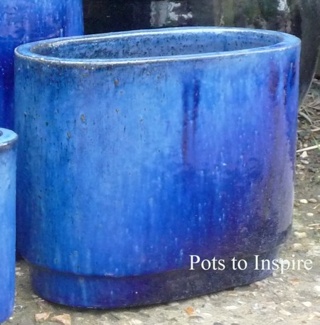 Blue glazed oval design garden pots woodside garden centre pots please call 01268 747888 for delivery cost to postcodes pa20phddabivkw workwithnaturefo