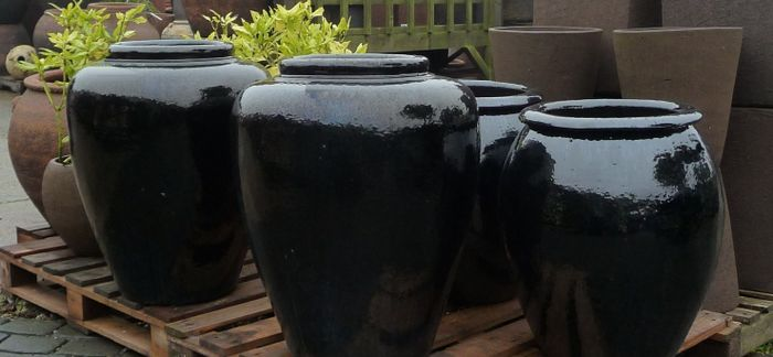 Large Black Glazed Pots And Planters Black Contempory