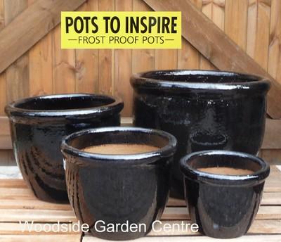 Large Black Glazed Pot Roll Top Planter Woodside Garden