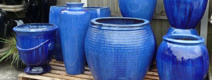 Large Blue Glazed Pots And Planters Blue Glazed Garden