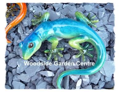 Resin Blue Gecko Lizard Home Or Garden Ornament Woodside
