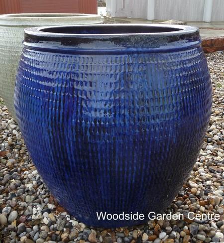 Extra Large Blue Glazed Pot Collar Planter Woodside Garden Centre