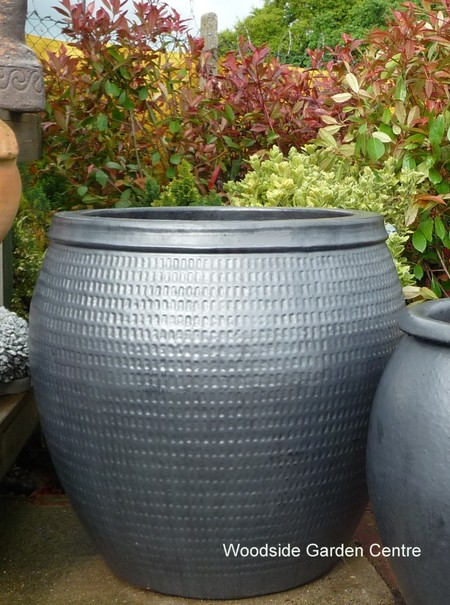 Extra Large Glazed Pot Gun Metal Collar Planter Woodside
