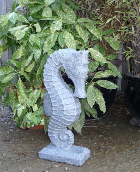 Marble Resin Granite Effect Seahorse, Seahorse Garden Statue