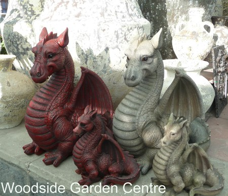 Resin Dragon Garden Ornament Fantasy Mystical Woodside Garden