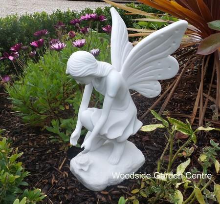 Large Marble Resin Kneeling Fairy Garden Ornament