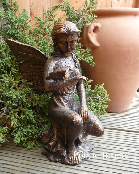 Large marble resin sitting fairy garden ornaments Reading fairy garden statue