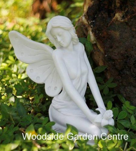 Marble Resin Sitting Fairy Garden, Fairy Garden Statues Uk