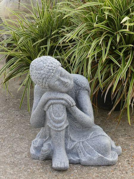 Medium Marble Resin Resting Buddha Home Or Garden Statue