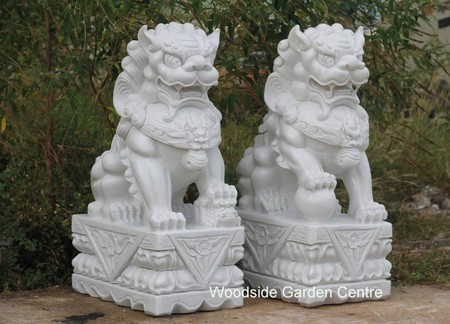 Marble Resin Temple Foo Dogs Garden Ornament Woodside Garden