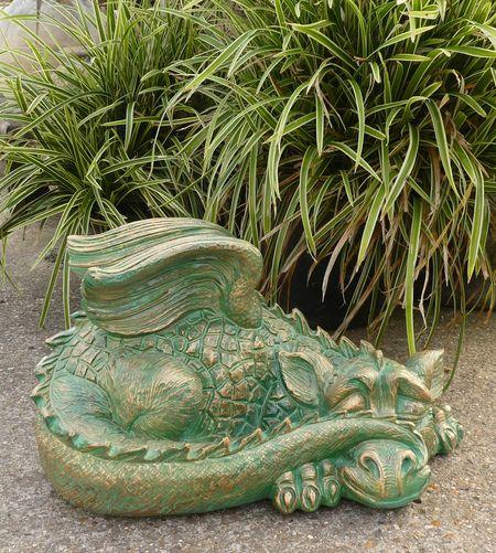 Enigma Verdigris Effect Dragon Marble, Large Dragon Garden Statues Uk