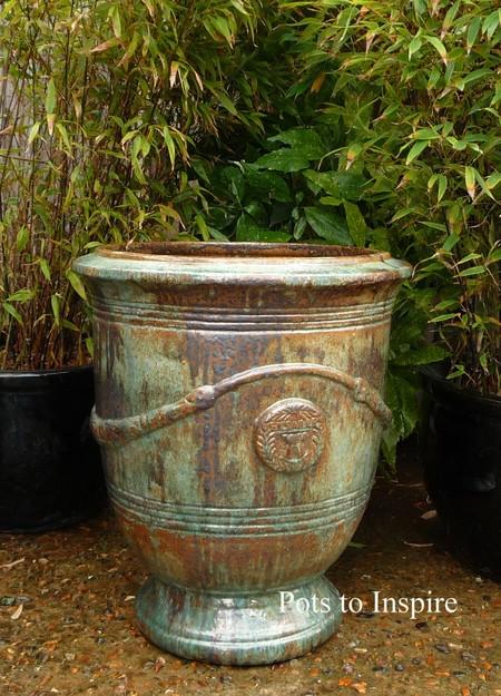Large Opal Green Glazed French Planter Garden Pot