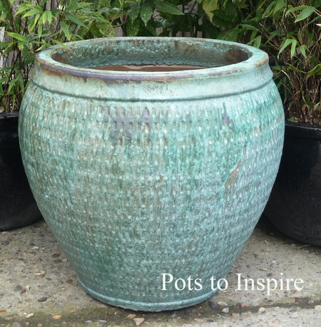 Large Opal Green Glazed Pot Collar Planter | Woodside Garden