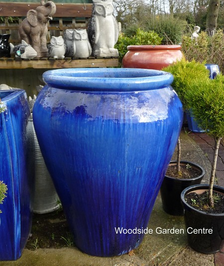 extra large blue glazed palace pot woodside garden centre pots to inspire. Black Bedroom Furniture Sets. Home Design Ideas