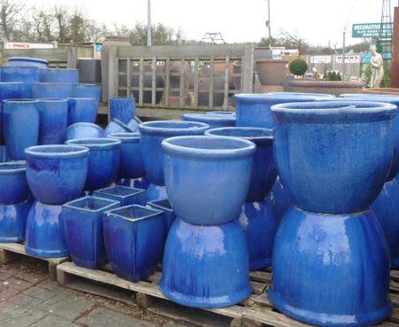 Large Blue Glazed Pot Roll Top Planter Woodside Garden