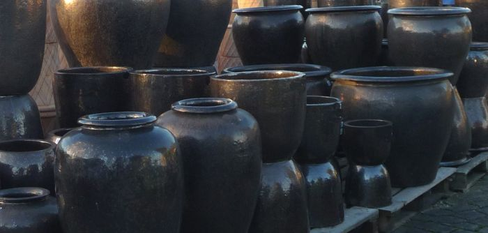 Large Dark Bronze glazed Pots and Planters | Sapphire glazed garden Pots | Woodside Garden ...
