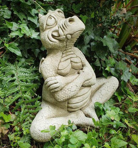 Cheeky Dragon Stoneware Garden Ornament, Stone Dragon Garden Ornaments Uk