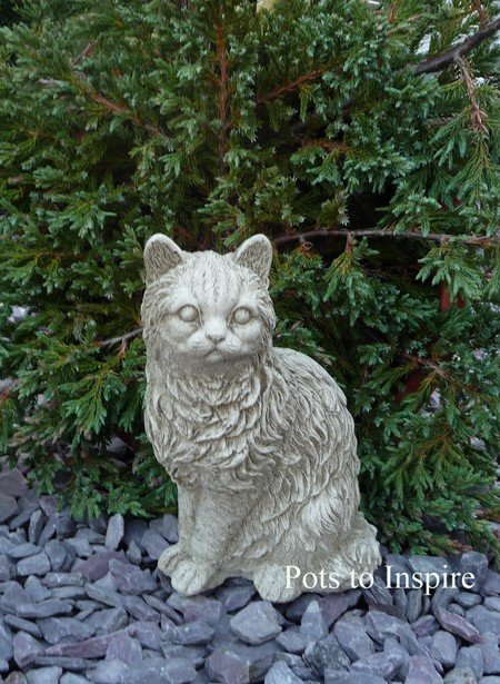 Sitting cat garden ornament woodside garden centre pots to inspire please call 01268 747888 for delivery cost to postcodes pa20phddabivkw workwithnaturefo