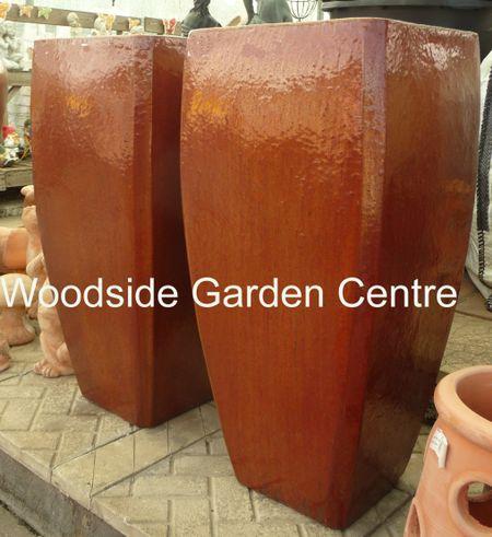 Tall Milan Copper Red Glazed Pot Planters Woodside