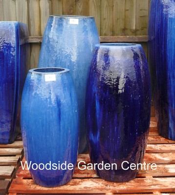 Extra Large Tall Glazed Blue Toggle Pot Planter | Woodside