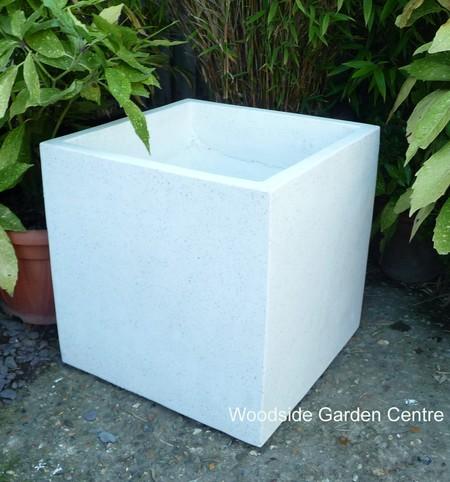 Large White Terrazzo 50cm Square Pot Planters | Woodside Garden Centre | Pots to Inspire