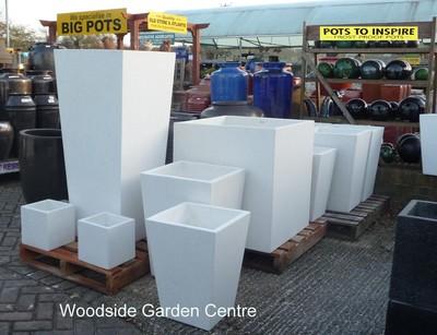 Extra Large White Terrazzo Square Taper Pot Planters