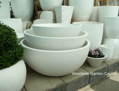 Wonderful Extra Large Terrazzo Ocean Bowl Round White Planters | Woodside  OR74
