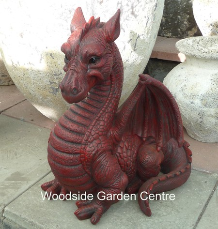 Resin Extra Large Red Dragon Garden Ornament Mystical