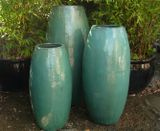 Extra Large Tall Glazed Aqua Toggle Pot Planter
