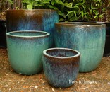 Large Glazed Aqua U Pot Planters