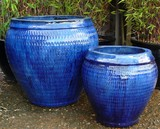 Large Blue Glazed Pot Collar Planter