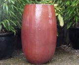 Tall Glazed Copper Red Bomb Planters
