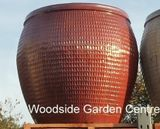 Extra Large Copper Red Glazed Pot Collar Planter