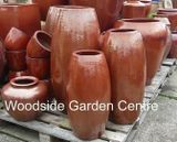 Extra Large Tall Glazed Copper Red Toggle Pot Planter