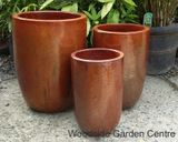 Tall Glazed Copper Red U Pot Planters