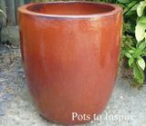 2 X Extra Large Tall Glazed Copper Red U Pot Planters
