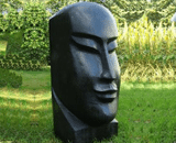 Enigma Black Marble Resin Easter Head Garden Ornament