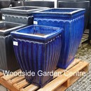 8 x Large Square Formal Blue Glazed Garden Pots
