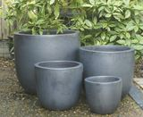 Large Gun Metal Grey Glazed U Planter