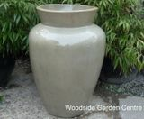 Large Tall Pale Green Urn Glazed Garden Pot