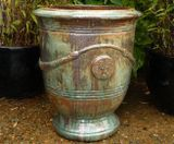 Large Opal Green Glazed French Planter Garden Pot