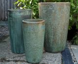 Extra Large Tall Round Glazed Opal Green Pot Planter