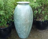 Tall Opal Green Glazed Roman Jar Vase