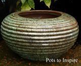 Glazed Opal Green Ribbed Low Pot Planter