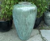 Large Opal Green Glazed Shoulder Jar Pot