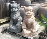 Large Pair of Old Stone Lion Foo Dogs Garden Ornament