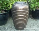 Large Dark Bronze Glazed Egyptian Vase Pot