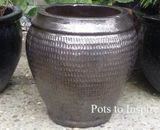 Medium Dark Bronze Glazed Pot Collar Planter