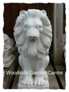 Pair of Stone Lions Animal Garden Ornament White